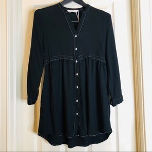 Zara black babydoll dress with white stitching XS